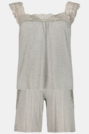 Pyjacourt, jersey, bretelles larges, dentelle - Grande Taille - Ulla Popken - Modalova