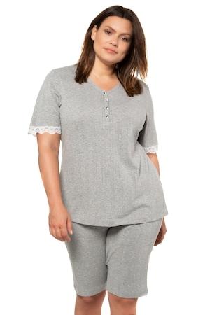 Ulla Popken Pyjama, Ajourjersey, Spitzenabschlüsse - Große Größen