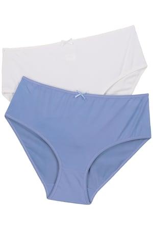 Ulla Popken Slips, 2er-Pack, blau/weiß, Mikrofaser - Große Größen