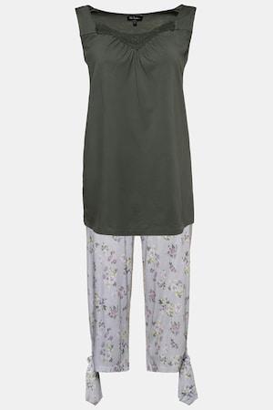 Pyjacourt, jersey, bretelles larges, dentelle crochetée - Grande Taille - Ulla Popken - Modalova