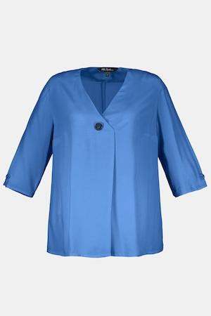Vintage Tops & Retro Shirts, Halter Tops, Blouses Plus Size Asymmetric One Button V-Neck Blouse $55.95 AT vintagedancer.com