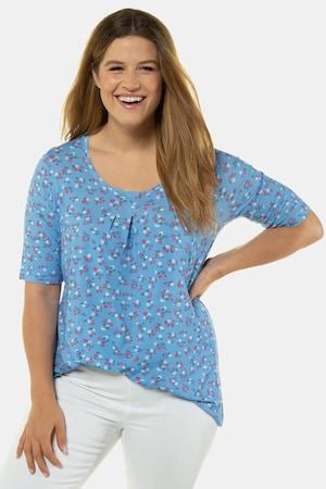 Plus Size Dainty Floral Print A-line Fit Stretch Knit Top
