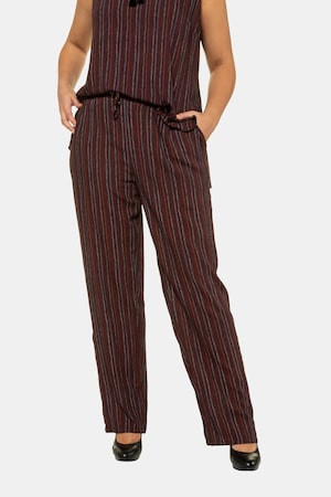 Steampunk Plus Size Clothing & Costumes Plus Size Herringbone Stripe Drawstring Rose Fit Pants $55.95 AT vintagedancer.com