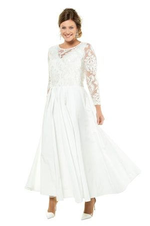 Ulla Popken Hochzeitskleid, Korsagenoptik, Spitze, weiter Taftrock - Große Größen