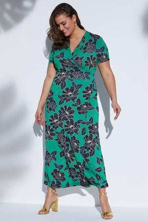 Plus Size Floral Stretch Knit Wrap Dress