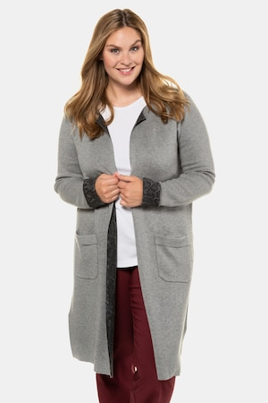 Plus Size Long Reversible Open Front Cardigan