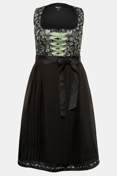 Metallic Jacquard Pleated Apron Dirndl Dress