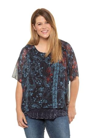 bei Ulla Popken: Ulla Popken Tunika, Paisleymuster, Oversized, Chiffon, Jerseytop - Große Größen - Shirts und Blusen