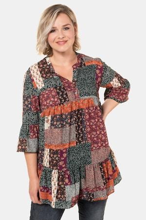 Women's 70s Shirts, Blouses, Hippie Tops Plus Size Boho Patch Print Ruffle Sleeve Tunic Blouse $65.95 AT vintagedancer.com