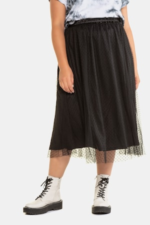 Steampunk Plus Size Clothing & Costumes Plus Size Sheer Mesh Polka Dot Layered Elastic Waist Skirt $55.95 AT vintagedancer.com