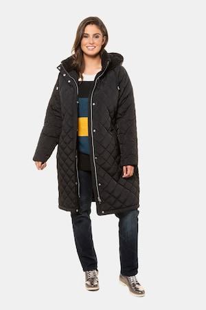 Manteau matelassé, col droit, capuche - Grande Taille