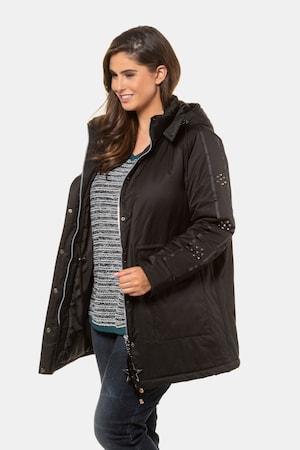 Manteau ouatiné, rivets, zip, capuche - Grande Taille