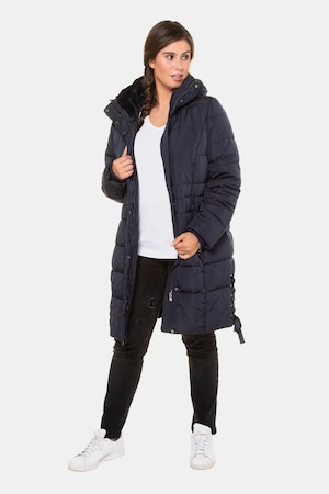 Manteau matelassé, laçage, peluche, col droit - Grande Taille