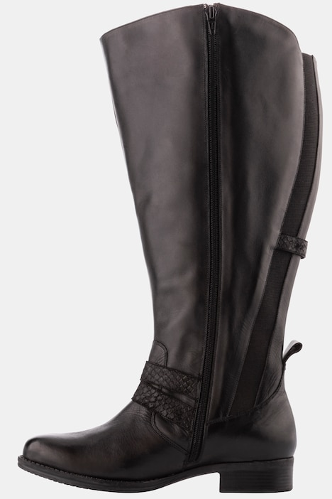 Wide Calf Leather Riding Boot   Boots