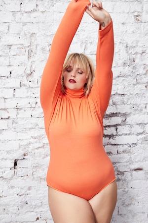 Image of Große Größen Body mit Rollkragen Damen (Größe 42 44, orange) | Ulla Popken Influencer Collection | Viskose/Elasthan