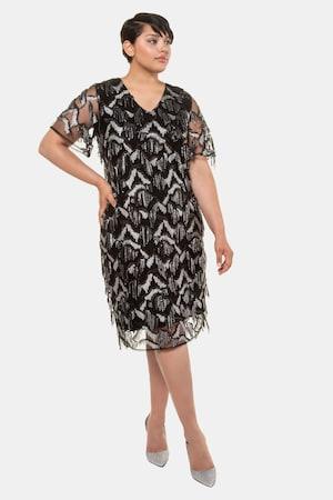 Flapper Dresses & Quality Flapper Costumes Plus Size Sequin Fringe V-Neck Event Layer Dress $179.95 AT vintagedancer.com