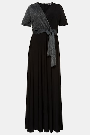 70s Prom, Formal, Evening, Party Dresses Plus Size Surplice Metallic Knit Accent Occasion Maxi Dress $139.95 AT vintagedancer.com