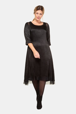 Charleston Dress: Fringe Flapper Dress Plus Size Jacquard Leaf Lace Accent Round Neck Dress $159.95 AT vintagedancer.com