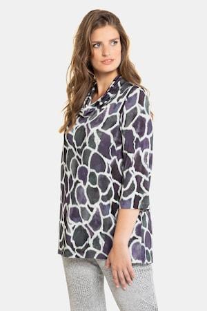 T-shirt slinky, classic, col roulé ample, imprimé - Grande Taille