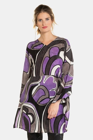 60s Dresses | 1960s Dresses Mod, Mini, Hippie Plus Size 60s Inspired Print V-Neck Cupro Tunic Blouse $129.95 AT vintagedancer.com