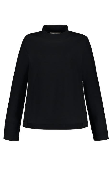Sweatshirt, Rippmix, Classic, Stehkragen, hinten länger