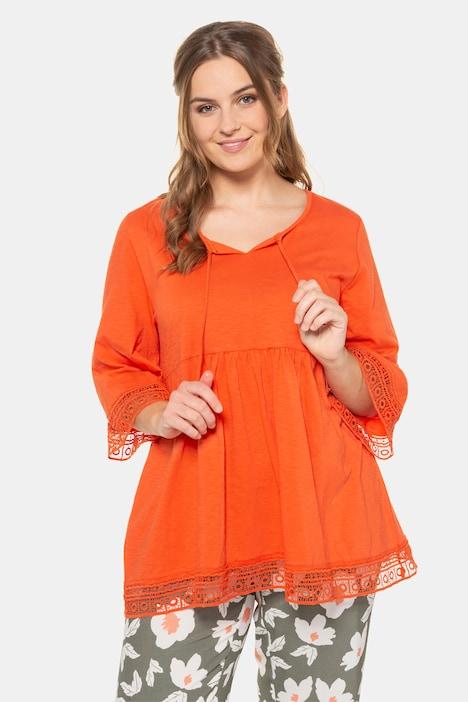 ULLA POPKEN Bluse mit Spitzendetails an Saum und Ärmel orange NEU