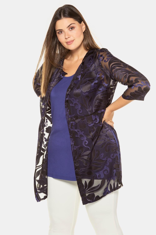 Image of Grosse Grössen Ausbrenner-Bluse, Damen, blau, Größe: 42/44, Polyester/Viskose, Ulla Popken