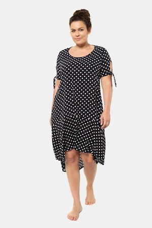 1920s Plus Size Flapper Dresses, Gatsby Dresses, Flapper Costumes Plus Size Dot Print Tie Sleeve Hi-Low Hem Beach Dress $75.95 AT vintagedancer.com