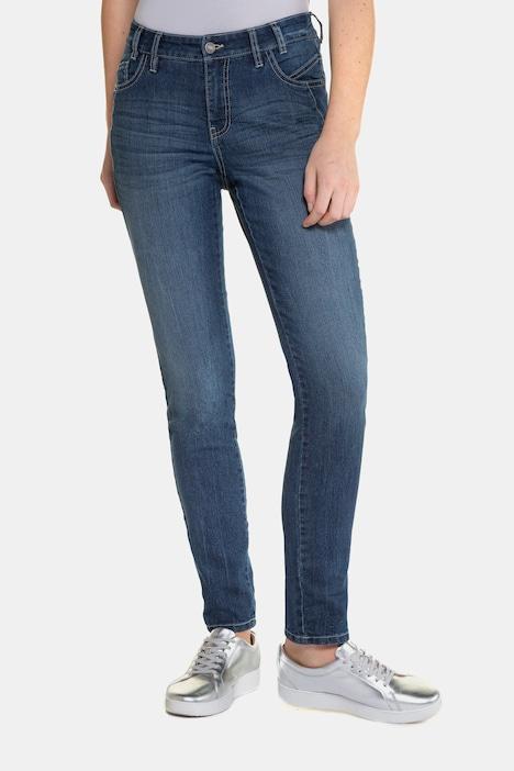 Gina Laura Jeans Julia fleurs broderie étroit jambe Blue Denim NEUF