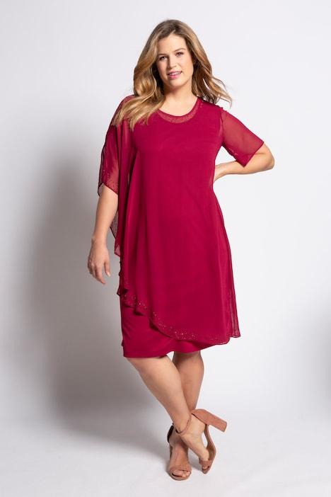 Kleid, Chiffon-Überwurf, Ziernieten, ärmellos | weitere
