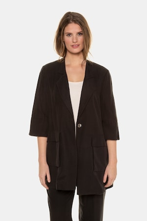 Vintage Coats & Jackets | Retro Coats and Jackets Plus Size Lyocell Blend Button Front Blazer $199.95 AT vintagedancer.com