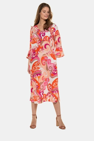 60s 70s Plus Size Dresses, Clothing, Costumes Plus Size Cheerful Paisley Print V-Neck Flounce Sleeve Dress $139.95 AT vintagedancer.com