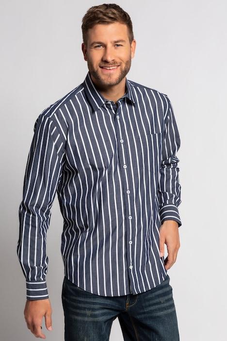 Artikel klicken und genauer betrachten! - Streifenhemd, Langarm, mit Kent-Kragen. Der bewährte JP1880 Modern Fit-Schnitt ist etwas schmaler geschnitten, so dass Sie das Hemd auch einmal modisch über der Hose tragen können. Außerdem denkt JP1880 mit: Für optimalen Komfort machen wir die Hemdenknöpfe ab der Größe 4XL eine Nummer größer. JP1880 - for real men only!   im Online Shop kaufen
