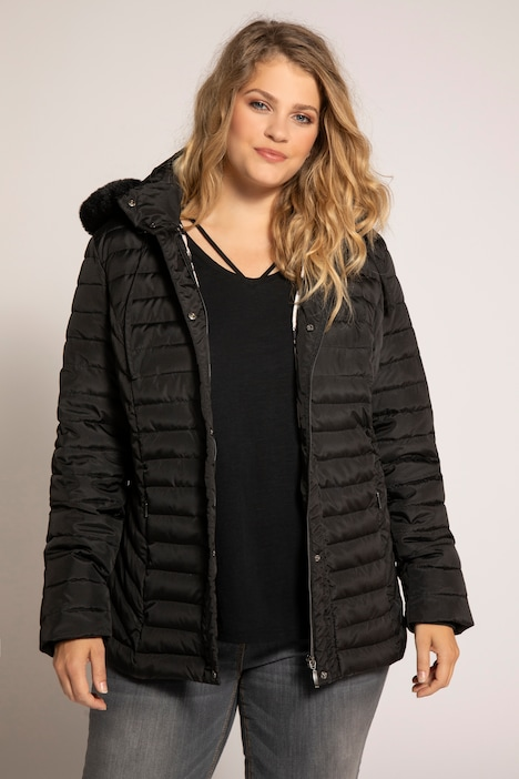 Ruffle Trim Triple Function Quilted Lined Jacket