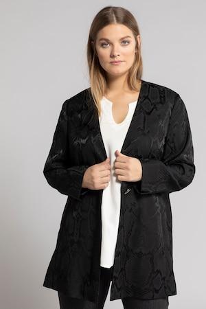 Duże rozmiary Długi żakiet, damska, czarny, rozmiar: 52, wiskoza/poliester/elastan, Ulla Popken