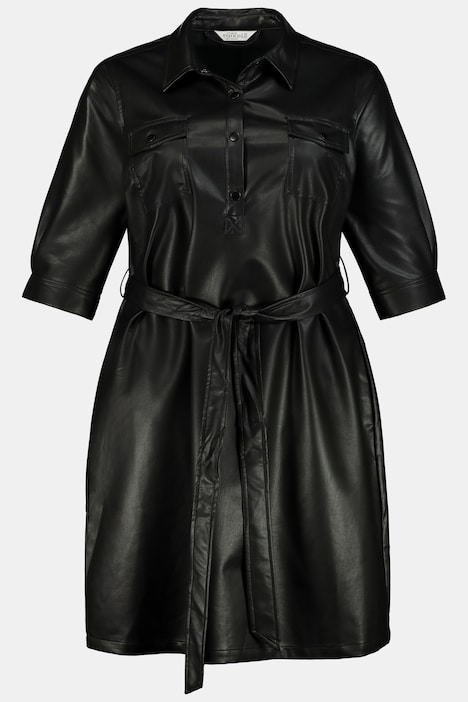 Leather Look Button Front Dress