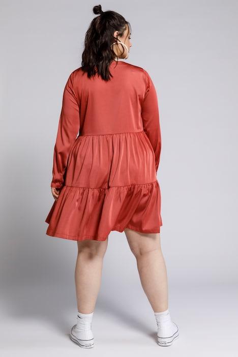 Kleid V Ausschnitt Langarm Volants Knopfleiste Weitere Kleider Kleider Ulla Popken Deutschland