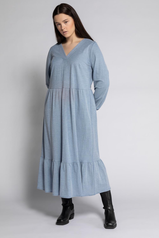 Maxi jurk met v hals, gerimpelde dwarsnaad en volant aan de zoom. lange mouwen met elastische boorden. studio ...