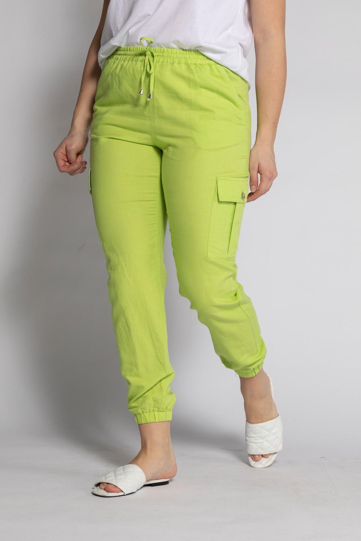 Cargopants in koele linnen look. wijd model met high waist, elastische band en onderaan de pijpen elastisch. ...
