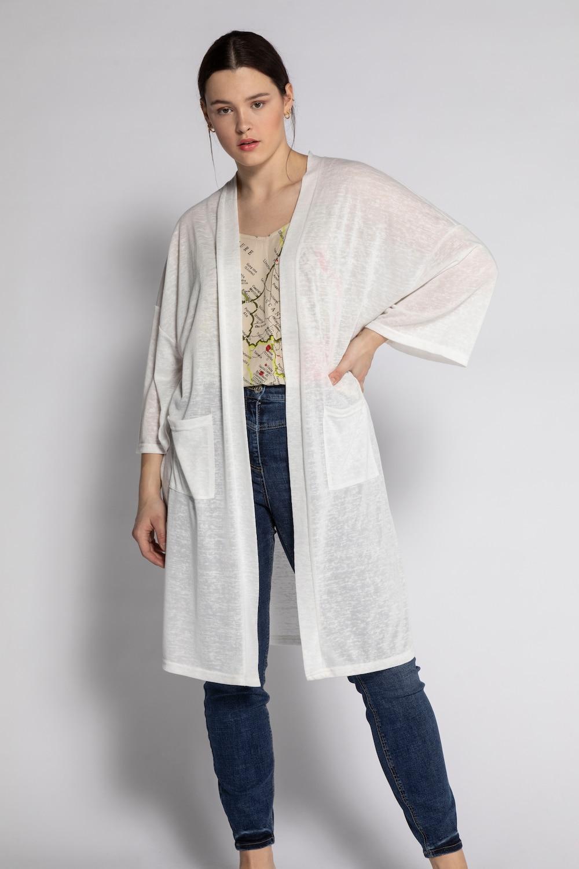 Lang vest, oversized. lang, open model met v hals en rechte 3/4 mouwen. studio untold is het young fashion ...