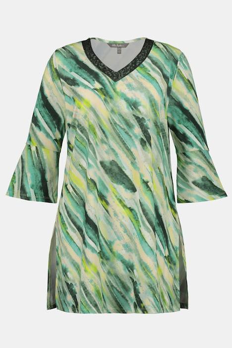 Duże rozmiary Tunika Slinky w akwarelowe paski, damska, zielony, rozmiar: 62/64, poliester, Ulla Popken
