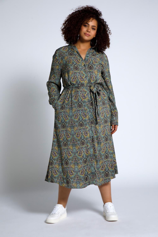 Overhemdjurk, a lijn, met paisley's. overhemdkraag, knopenlijst, elastische taille. zakken opzij, lange ...