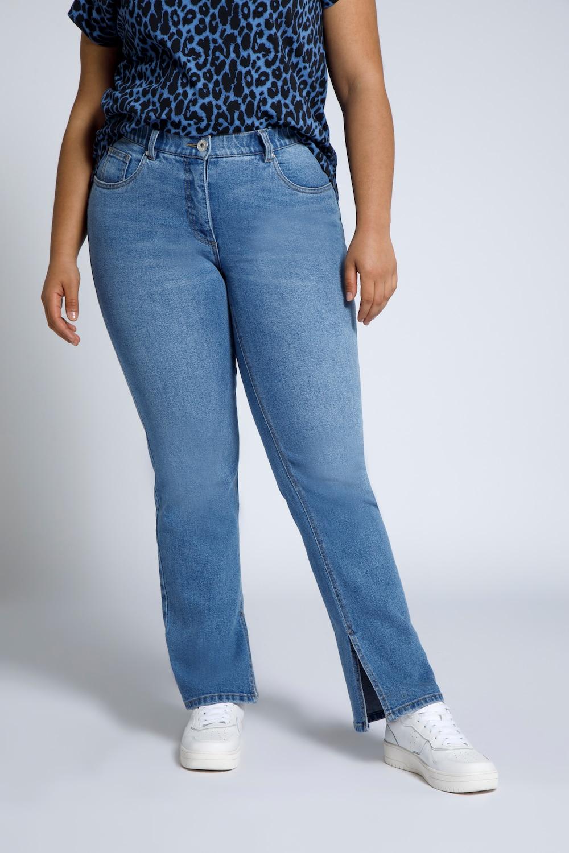 Jeans, straight fit, met lange zijsplitten onderaan de binnenkant van de pijpen. 5 pocket met elastische ...