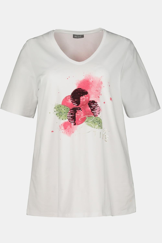 Duże rozmiary T-shirt z motywem porzeczki, damska, szaro, rozmiar: 46/48, bawełna, Ulla Popken