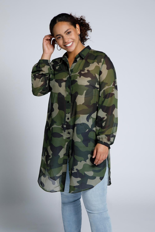 Longline blouse met camouflage print. overhemdkraag, afgeronde zoom met lange zijsplitten. lange mouwen met ...