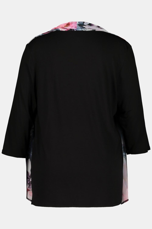Duże rozmiary Wzorzysta dwuwarstwowa bluzka, damska, turkusowy, rozmiar: 42/44, wiskoza, Ulla Popken